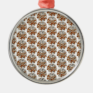Brown  Floral Dahlia Flower Pattern Round Metal Christmas Ornament