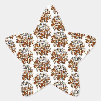 Brown  Floral Dahlia Flower Pattern Star Sticker