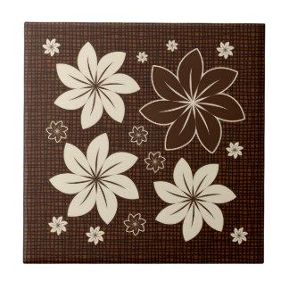 Brown floral design tiles