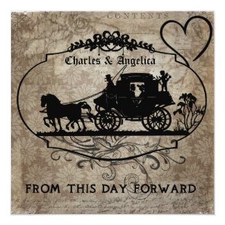 """Brown Floral From This Day Forward  Wedding Invite 5.25"""" Square Invitation Card"""