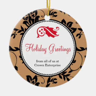 Brown floral holiday greeting custom business logo ornaments
