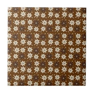 Brown floral pattern ceramic tiles