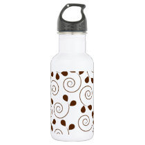 Brown Floral Pattern Water Bottle