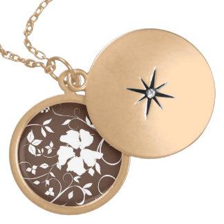 Brown Floral Pendant Necklace