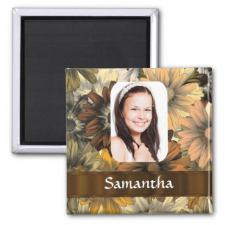 Brown floral personalized photo template refrigerator magnets