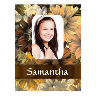 Brown floral personalized photo template postcard
