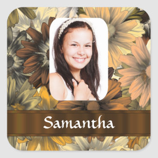 Brown floral personalized photo template square sticker