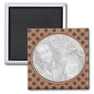 brown floral photo frame 2 inch square magnet