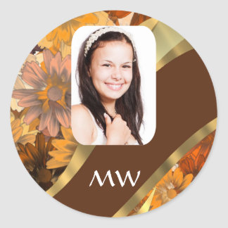 Brown floral photo template classic round sticker