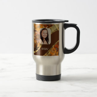 Brown floral photo template 15 oz stainless steel travel mug