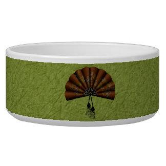 Brown Floral Pixel Art Fan Bowl