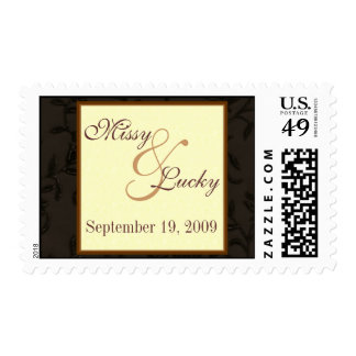 Brown Floral Save the Date Stamp