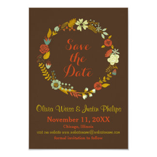 Brown Floral Wreath - 3x5 Save the Date Card