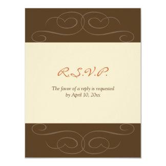 Brown florish fall custom response card invitations