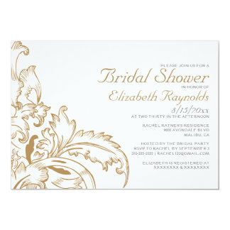 Brown Flourish Bridal Shower Invitations