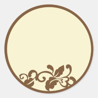 brown flourish classic round sticker