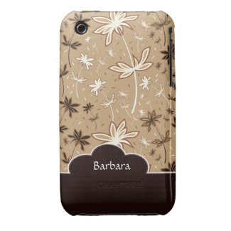 Brown Flower Floral Pattern iPhone 3 Case