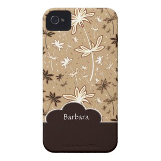Brown Flower Floral Pattern iPhone 4 Case