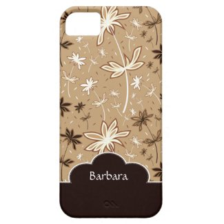 Brown Flower Floral Pattern iPhone 5 Case