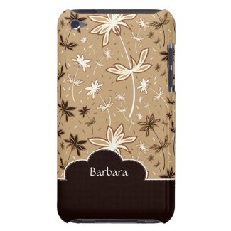 Brown Flower Floral Pattern iPod Touch Case