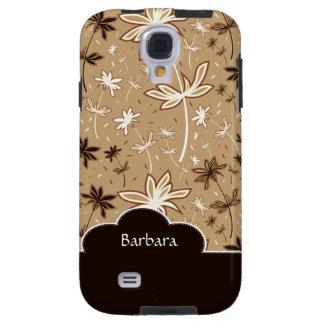 Brown Flower Floral Pattern Samsung Galaxy  S4 Cas Galaxy S4 Case