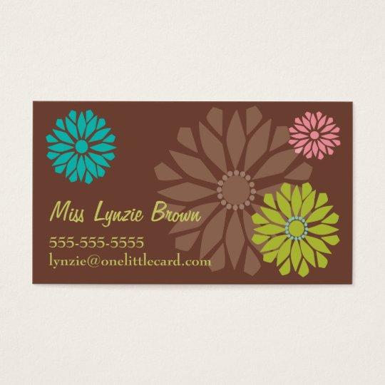 Brown Flower Power Business Card