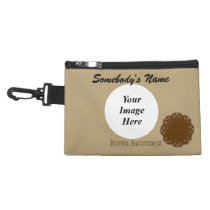 Brown Flower Ribbon Accessory Bag