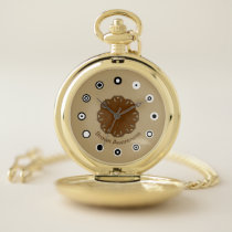Brown Flower Ribbon (Bf) by K Yoncich Pocket Watch