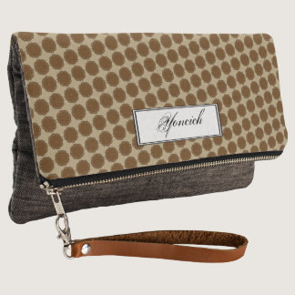 Brown Flower Ribbon by Kenneth Yoncich Clutch