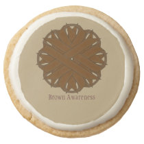 Brown Flower Ribbon by Kenneth Yoncich Round Shortbread Cookie