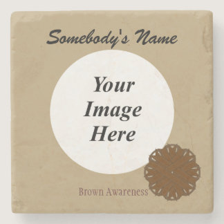 Brown Flower Ribbon by Kenneth Yoncich Stone Coaster