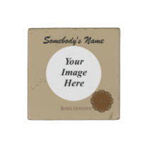 Brown Flower Ribbon by Kenneth Yoncich Stone Magnet