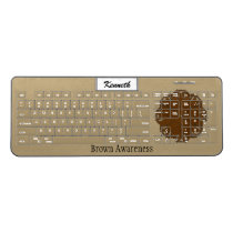 Brown Flower Ribbon by Kenneth Yoncich Wireless Keyboard