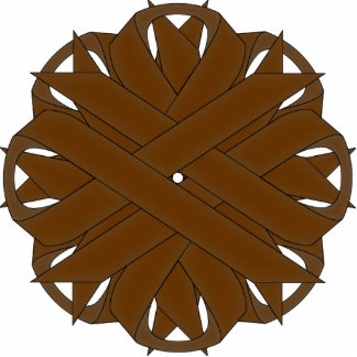 Brown Flower Ribbon Cutout