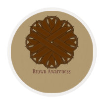 Brown Flower Ribbon Edible Frosting Rounds