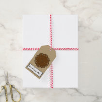 Brown Flower Ribbon Gift Tags