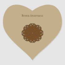 Brown Flower Ribbon Heart Sticker