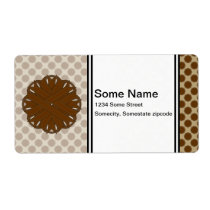 Brown Flower Ribbon Label