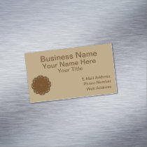 Brown Flower Ribbon Magnetic Business Card