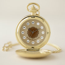 Brown Flower Ribbon (Mf) by K Yoncich Pocket Watch