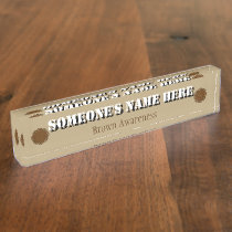 Brown Flower Ribbon Nameplate
