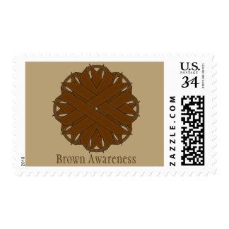 Brown Flower Ribbon Postage