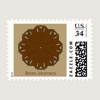 Brown Flower Ribbon Postage
