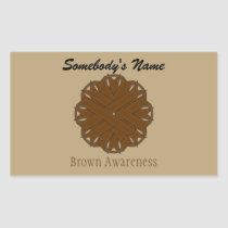 Brown Flower Ribbon Rectangular Sticker