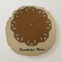 Brown Flower Ribbon Round Pillow