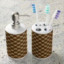 Brown Flower Ribbon Soap Dispenser & Toothbrush Holder