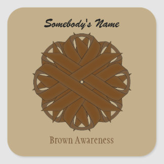 Brown Flower Ribbon Square Sticker