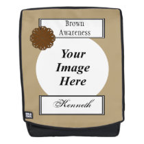 Brown Flower Ribbon Template by Kenneth Yoncich Backpack