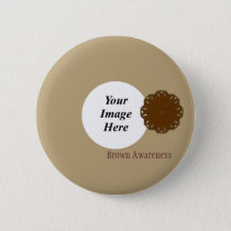Brown Flower Ribbon Template by Kenneth Yoncich Pinback Button