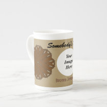 Brown Flower Ribbon Template by Kenneth Yoncich Tea Cup